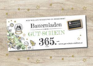 bauernladen.at Gutschein_Holz_365_Euro