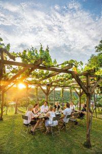 Gruppe beim Weißweingenuss im Weingarten
